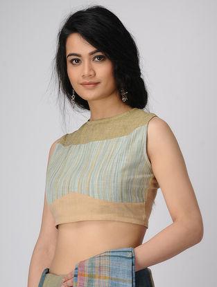 Cyan-Brown Handloom Cotton Blouse