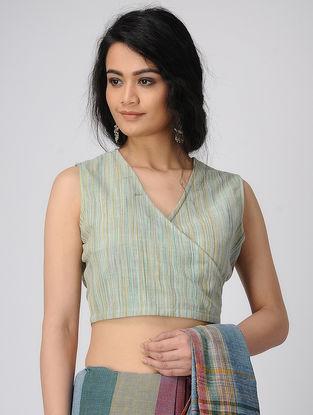 Cyan Handloom Cotton Blouse