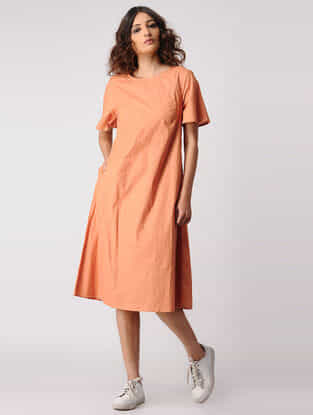 Orange Natural-dyed Cotton Dress with Pockets by Jaypore