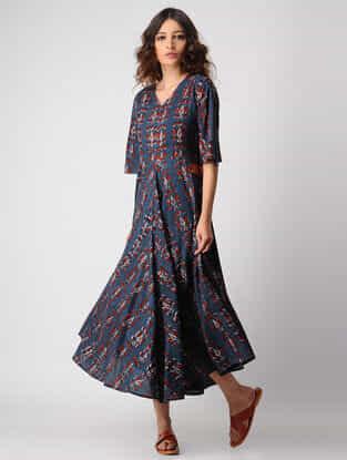 Indigo-Madder Natural-dyed Ajrakh Cotton Dress by Jaypore