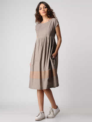 Beige Natural-dyed Cotton Dress with Pintucks by Jaypore
