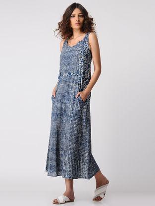 Indigo-Ivory Natural-dyed Dabu Cotton Belt Dress by Jaypore