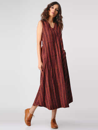 Madder Natural-dyed Ajrakh Cotton Dress with Pockets by Jaypore