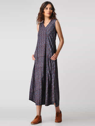 Indigo-Madder Natural-dyed Ajrakh Cotton Dress with Pockets by Jaypore