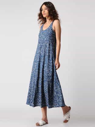 Indigo-Ivory Natural-dyed Dabu Cotton Dress by Jaypore