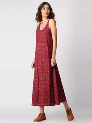 Madder-Yellow Natural-dyed Ajrakh Cotton Dress by Jaypore