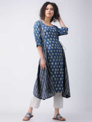 Indigo-Yellow Ajrakh Cotton Kurta with Tie-ups by Jaypore