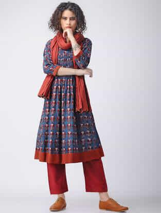 Indigo-Madder Ajrakh Cotton Kurta with Pintucks by Jaypore