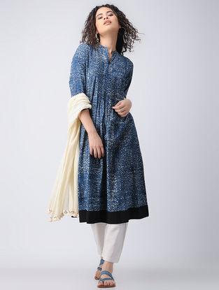 Indigo-Ivory Dabu-printed Cotton Kurta with Pintucks by Jaypore