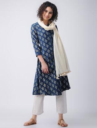 Indigo-Yellow Front-open Ajrakh Cotton Kurta by Jaypore