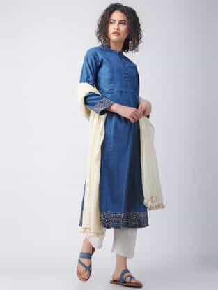 Indigo Natural-dyed Cotton Kurta with Pleats by Jaypore