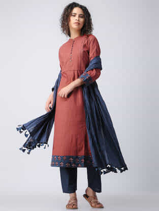 Madder-Indigo Natural-dyed Cotton Kurta with Pleats by Jaypore
