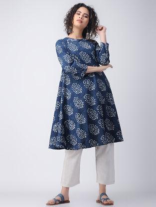Indigo-Ivory Dabu-printed Cotton Kurta by Jaypore