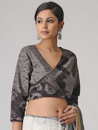 Grey-Black Shibori Cotton Blouse by Jaypore