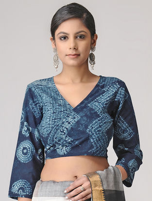 Indigo Shibori Cotton Blouse by Jaypore