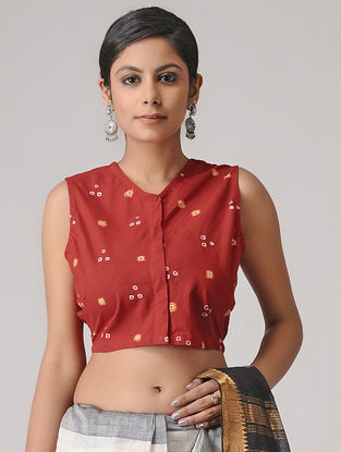 Red Bandhani Cotton Blouse by Jaypore