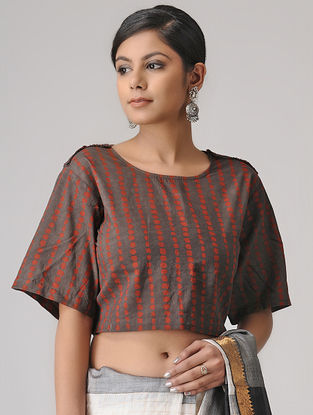 Brown-Madder Ajrakh Cotton Blouse by Jaypore