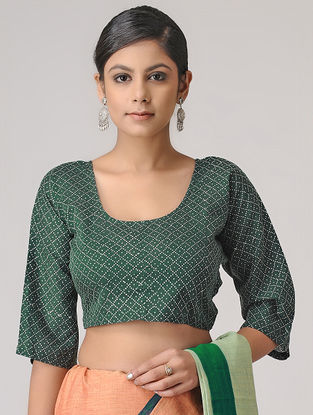 Green-Ivory Block-printed Cotton Blouse by Jaypore
