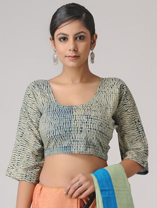 Ivory-Blue Shibori Cotton Blouse by Jaypore
