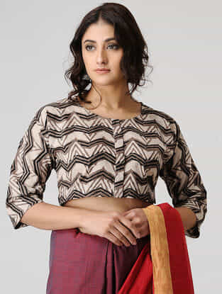 Brown-Beige Ajrakh Cotton Blouse by Jaypore