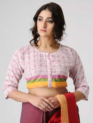Ivory-Pink Block-printed Cotton Blouse by Jaypore