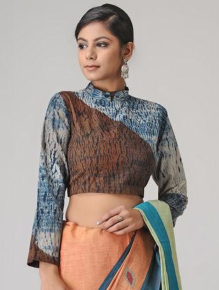 Indigo-Ivory Shibori Cotton Blouse by Jaypore