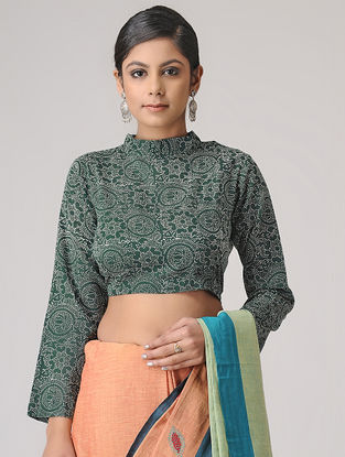 Green-Ivory Block-printed Blouse by Jaypore