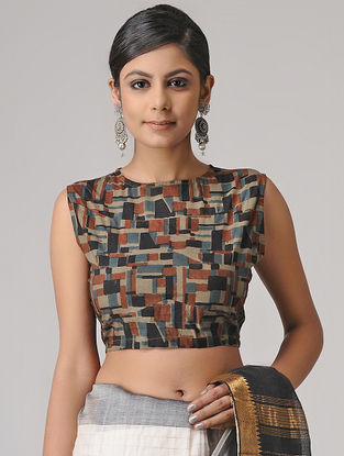 Brown-Black Ajrakh Cotton Blouse by Jaypore