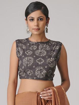 Charcoal Shibori Cotton Blouse by Jaypore