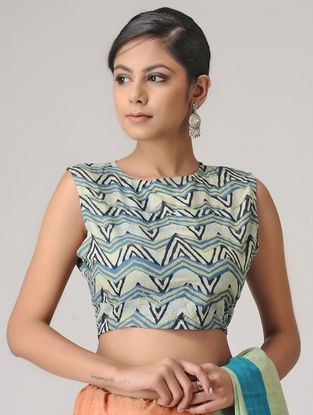 Ivory-Blue Ajrakh Cotton Blouse by Jaypore