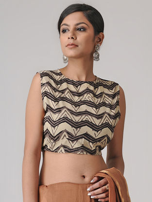 Beige-Brown Ajrakh Cotton Blouse by Jaypore