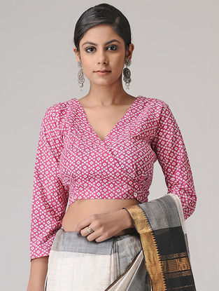 Pink-Ivory Printed Cotton Blouse by Jaypore
