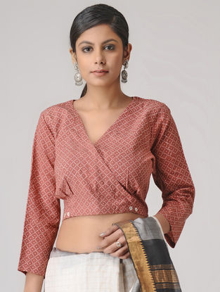 Rust-Ivory Block-Printed Cotton Blouse by Jaypore