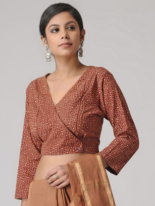 Madder Block-printed Cotton Blouse by Jaypore