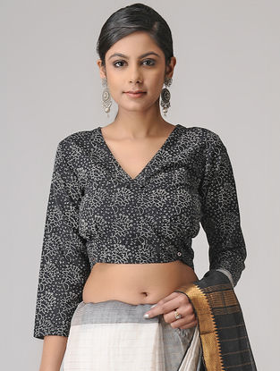 Black-Ivory Block-printed Cotton Blouse by Jaypore