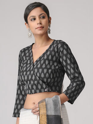 Black-Ivory Handloom Cotton Ikat Blouse by Jaypore