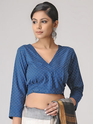 Blue-Ivory Block-printed Cotton Blouse by Jaypore
