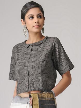 Grey Shibori Cotton Blouse by Jaypore