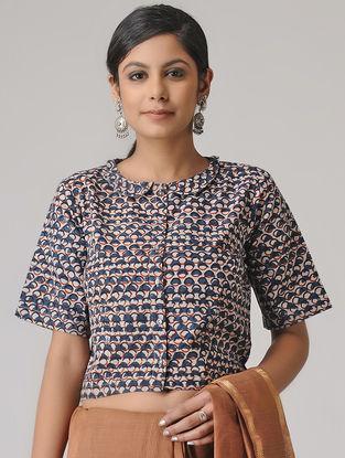 Indigo-Ivory Dabu Cotton Blouse by Jaypore