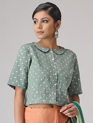 Grey Bandhani Cotton Blouse by Jaypore
