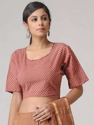 Madder-Ivory Block-printed Cotton Blouse by Jaypore