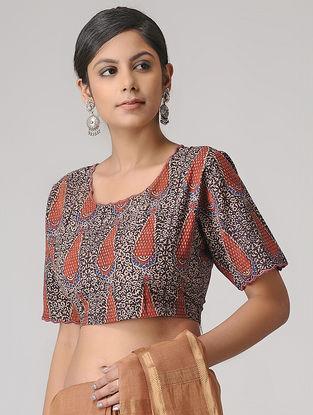 Madder-Black Ajrakh Cotton Blouse by Jaypore