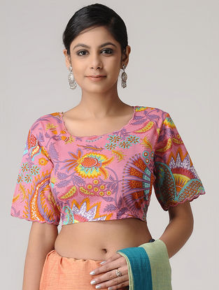Pink-Yellow Printed Cotton Blouse by Jaypore