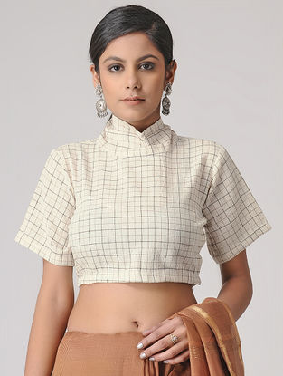 Ivory Handloom Cotton Blouse by Jaypore