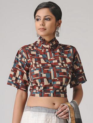 Madder-Beige Ajrakh Cotton Blouse by Jaypore