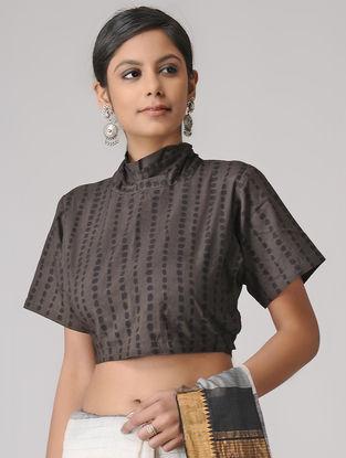 Brown-Black Ajrakh Cotton Blouse by Jaypore