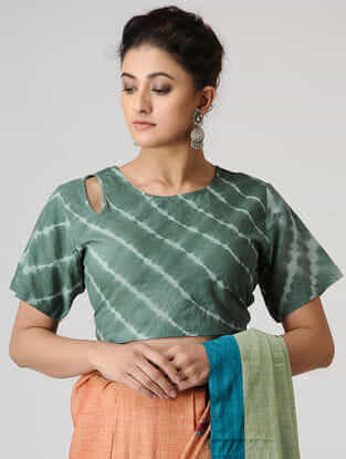 Green-Ivory Shibori Cotton Blouse by Jaypore