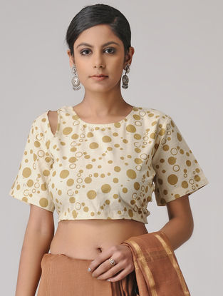 Ivory Printed Cotton Blouse by Jaypore