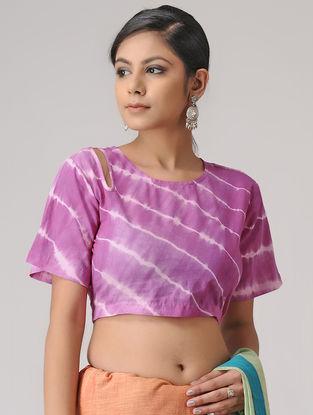 Pink-White Shibori Cotton Blouse by Jaypore
