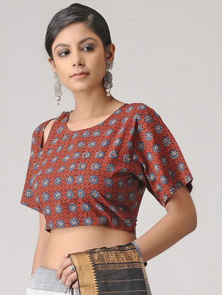 Madder Ajrakh Cotton Blouse by Jaypore